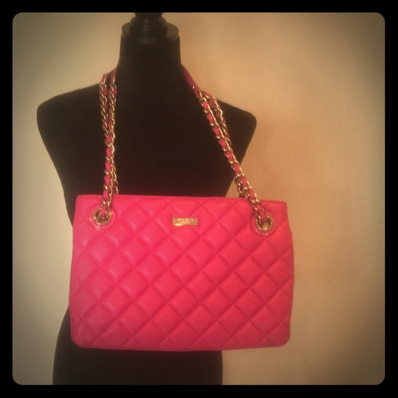 Kate spade quilted leather bag in hot pink